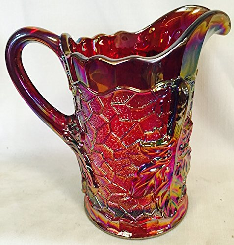 - Water Pitcher Maple Leaf Pattern Mosser Glass - Red Carnival