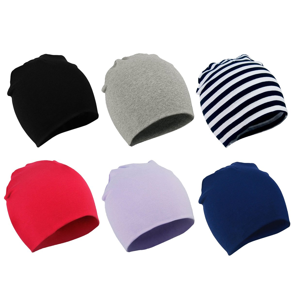 Zando Toddler Baby Beanies Hat for Baby Girls Cotton Knit Beanie Kids Lovely Soft Cute Cap Infant Beanies for Baby Boys 6 Pack Black Light Grey Stripe Red Light Purple Navy Large (1-4 years)