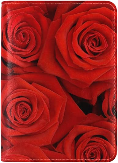 Girls Youth Dress Red Flower Leather Passport Holder Cover Case Travel One Pocket