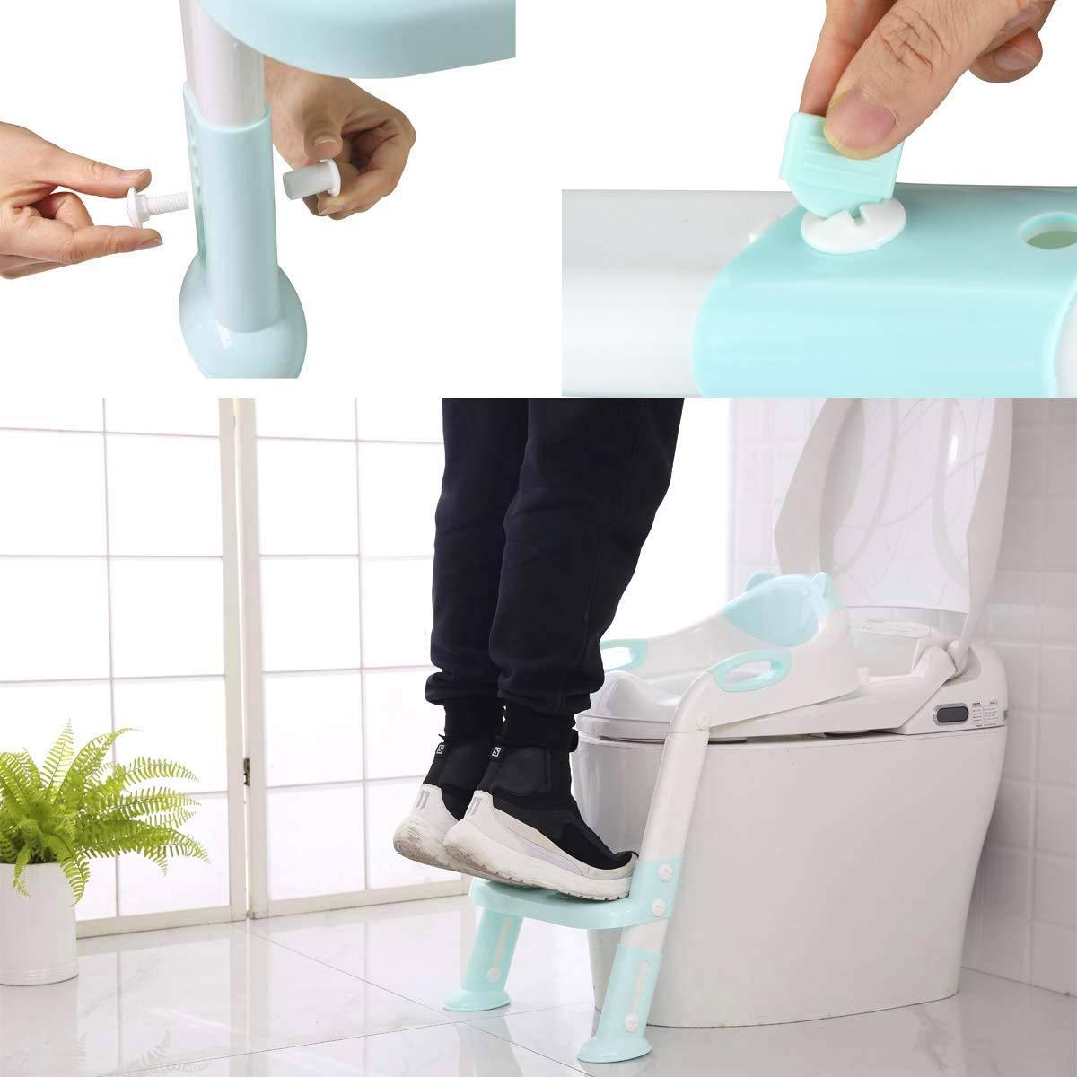 T/öpfchen-Trainingssitz f/ür Kinder blau verstellbarer Toiletten-T/öpfchenstuhl f/ür Kleinkinder mit stabiler rutschfester Tritthockerleiter Einfach zu montierender Toilettensitz f/ür Jungen und M/ädchen