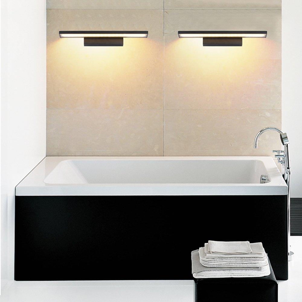 12W Luz del espejo de la l/ámpara de pared l/ámpara de ba/ño de acero inoxidable de 600 mm Blanco fresco ba/ño luminaria a prueba de agua con estilo elegante Negro