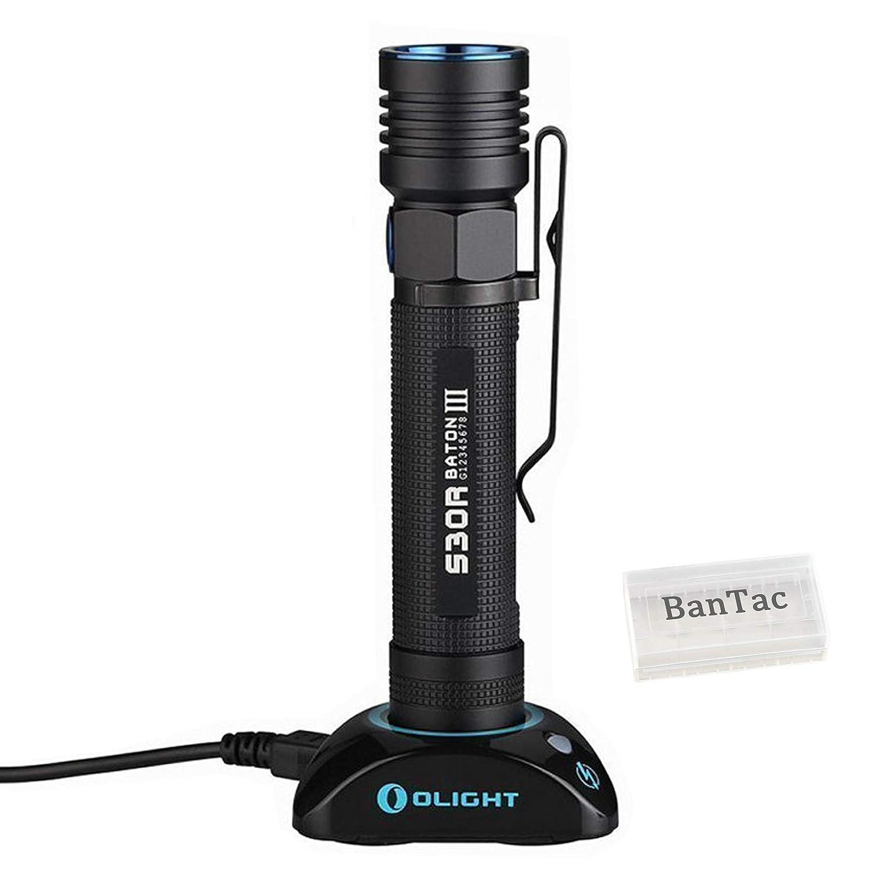 Olight S30R III Baton Tragbar Taschenlampe CREE XM-L2 LED 1050 Lumen Variable-output USB Wiederaufladbar EDC Taschenlampen mit 18650 Akku und BanTac Batterie Fall