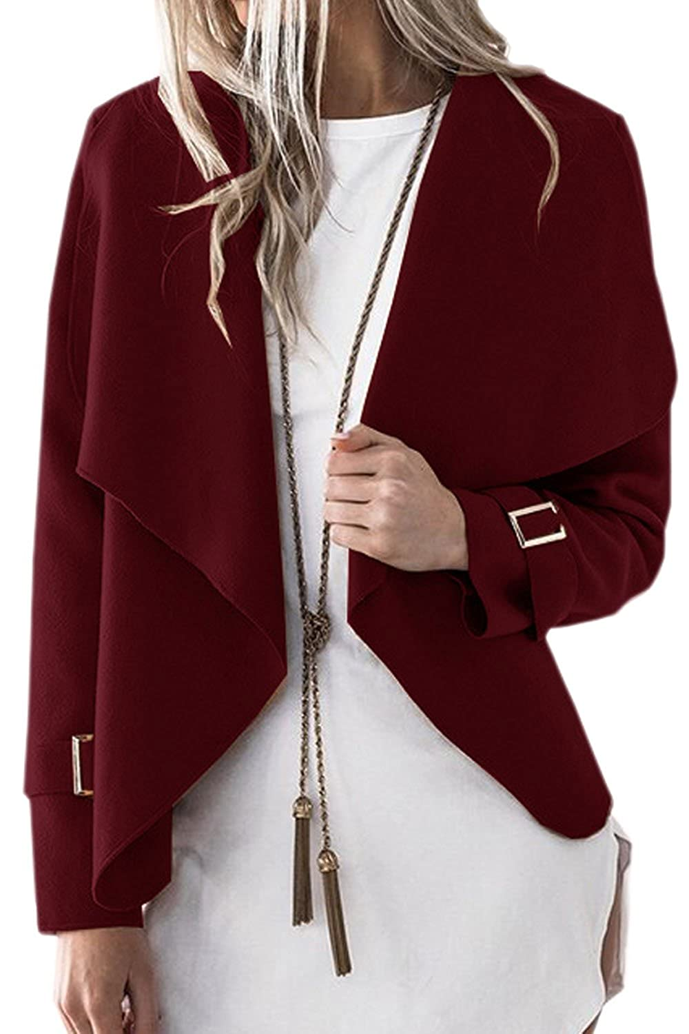 Women Casual Winter Open Front Solid Cardigan Outercoat Trenchcoat Top CAVI282