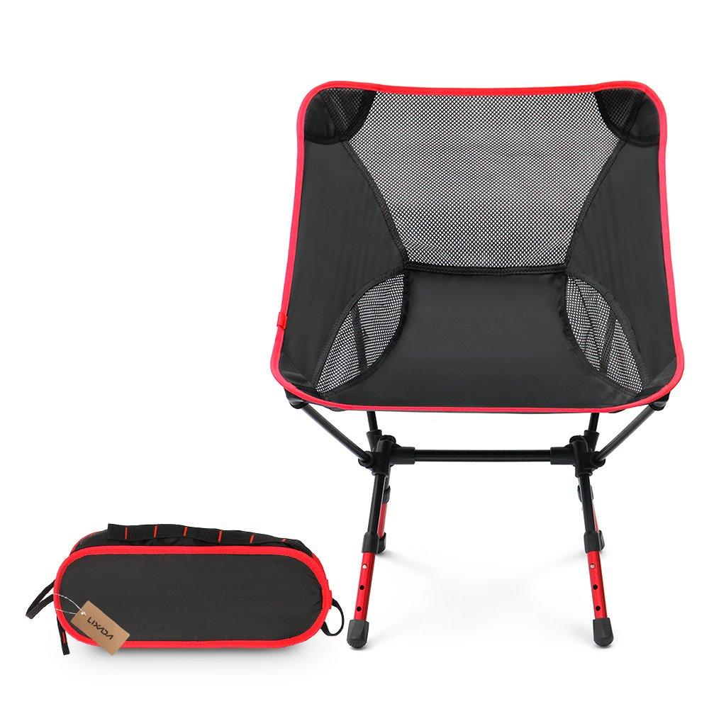 Lixada超軽量折りたたみバックパッキングキャンプチェアChair with Carryバッグ&高さ調節可能ポータブルHeavy DutyメッシュQuad Chair forアウトドア釣りキャンプピクニックビーチレジャー B074623T22  レッド