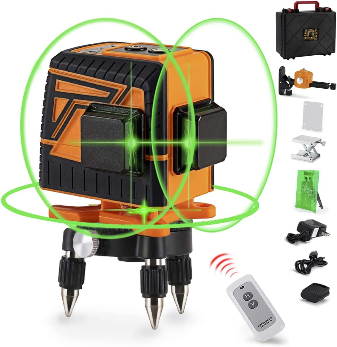 OMMO 3D Green Laser Level, 360° Self-Leveling Green Line Laser Kit, Two 360° Vertical and One 360° Horizontal Line, 12 Lines Green Beam Laser Level with Remote Controller