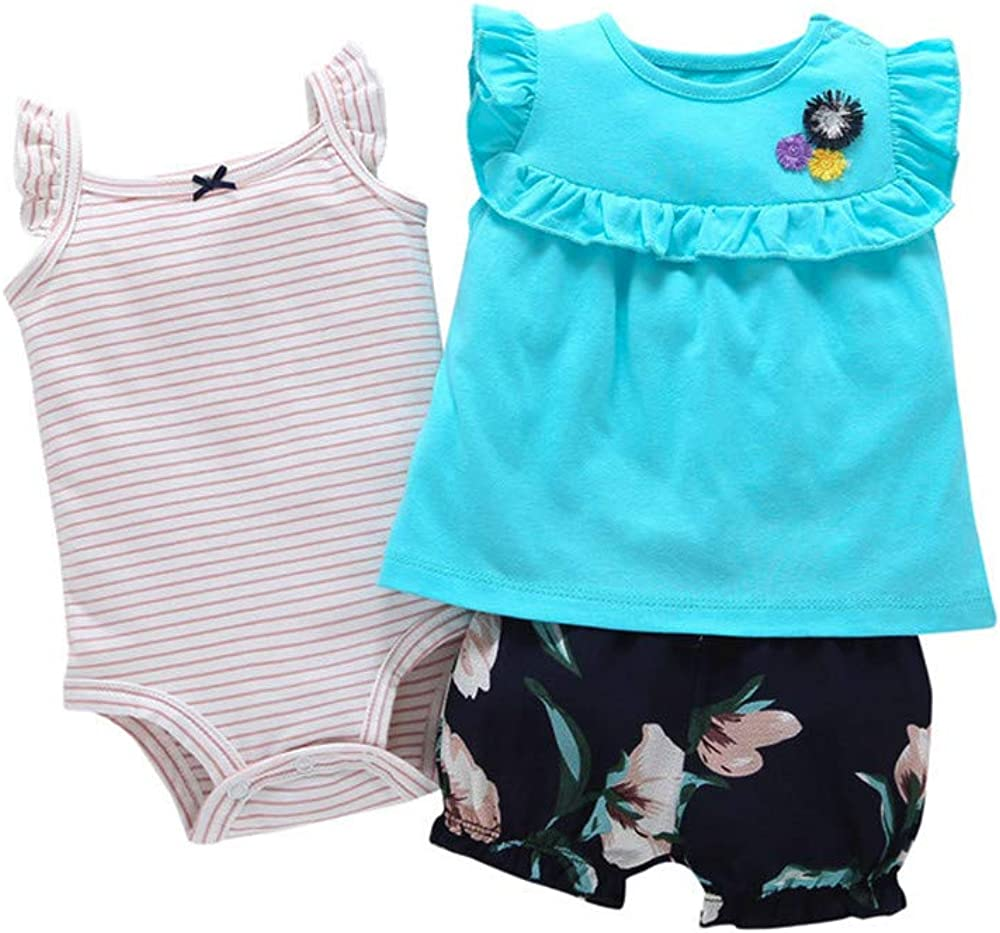Bebe Ropa Niña Recien Nacido Mameluco Bebe Niña Primavera Color Solido Tops + Pantalón Estampado + Mameluco Raya Conjunto de Trajes,6 Meses a 2 Años