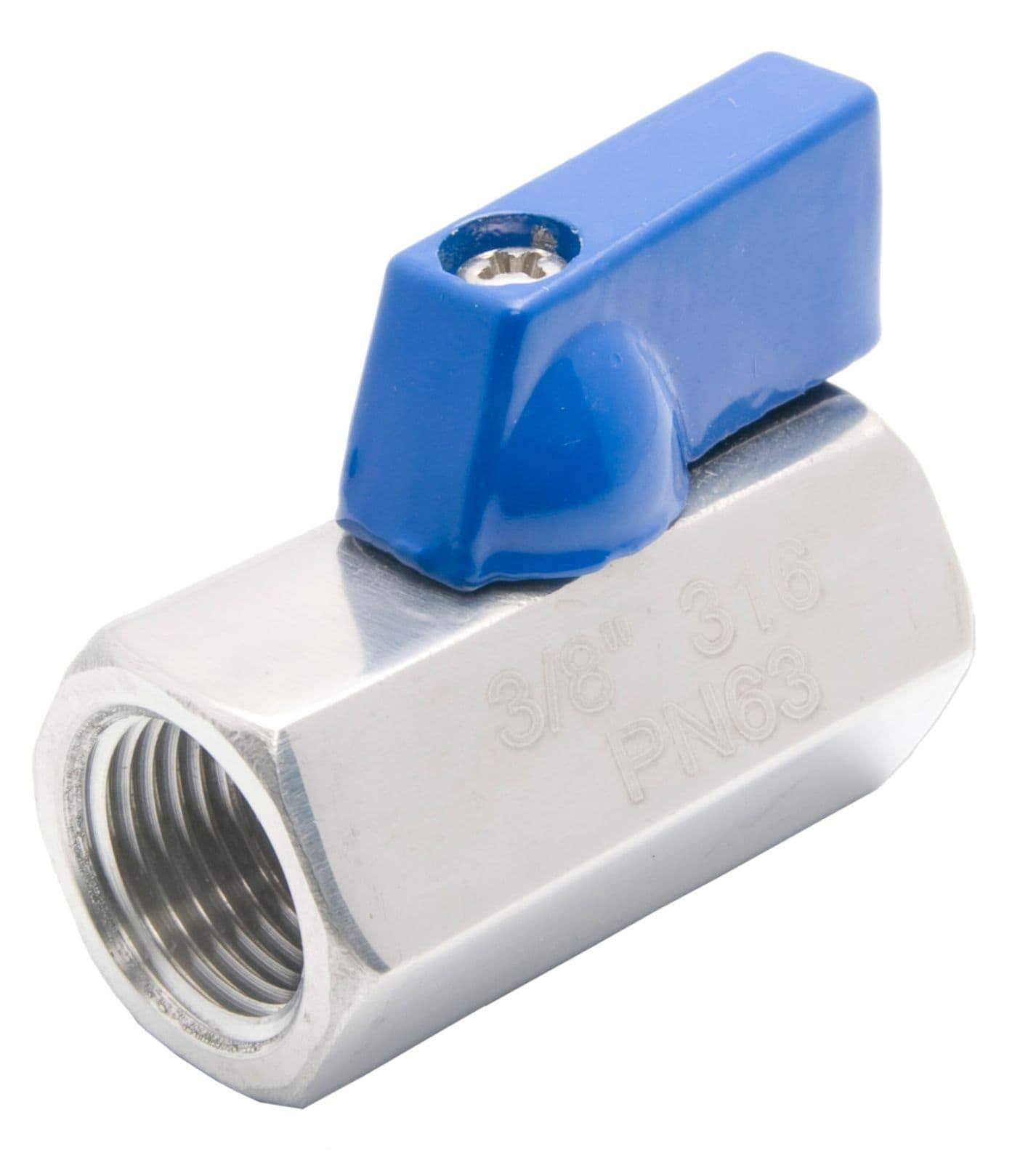 "5 Pack NPT 3//8/"" Stainless Steel mini ball valve 316 Male to Female"