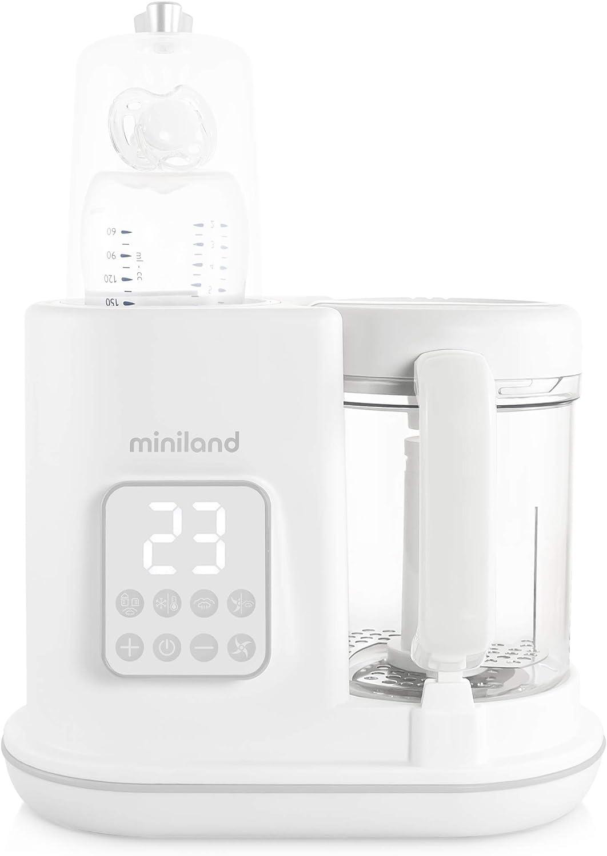 Miniland 89234 Chefy 6 Pr/éparateur /à Aliments pour B/éb/é Cuisson Vapeur Mixeur St/érilisateur Chauffage 6-en-1 Blanc