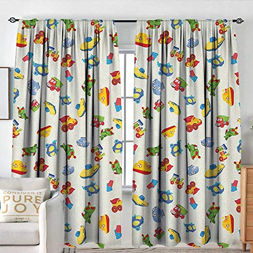 - Petpany Rod Pocket Blackout Curtain Kids,Airplane Boat Ship Helicopter Submarine Car Truck Van Boys Cartoon Transportation, Multicolor,Decor/Room Darkening Window Curtains 60