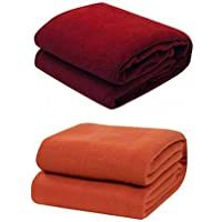 Supreme Home Collective Pack of 2 Plain Fleece Single Blanket Warm Winter Bedsheet Cum Blanket (Maroon&Rust)