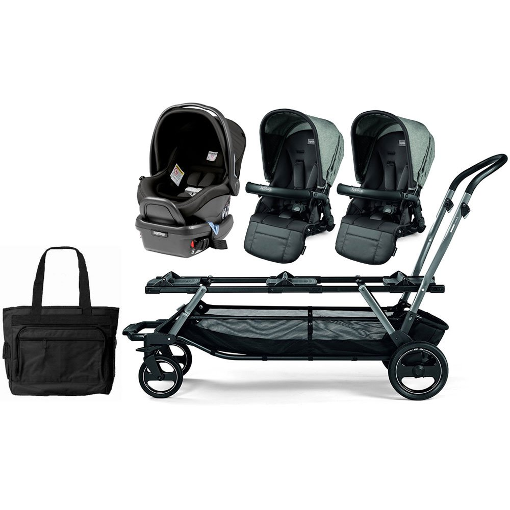 Peg Perego Triplette Piroet Pop-Up Seats and Primo Viaggio 4/35 Infant Car Seat Stroller with Diaper Bag - Atmosphere