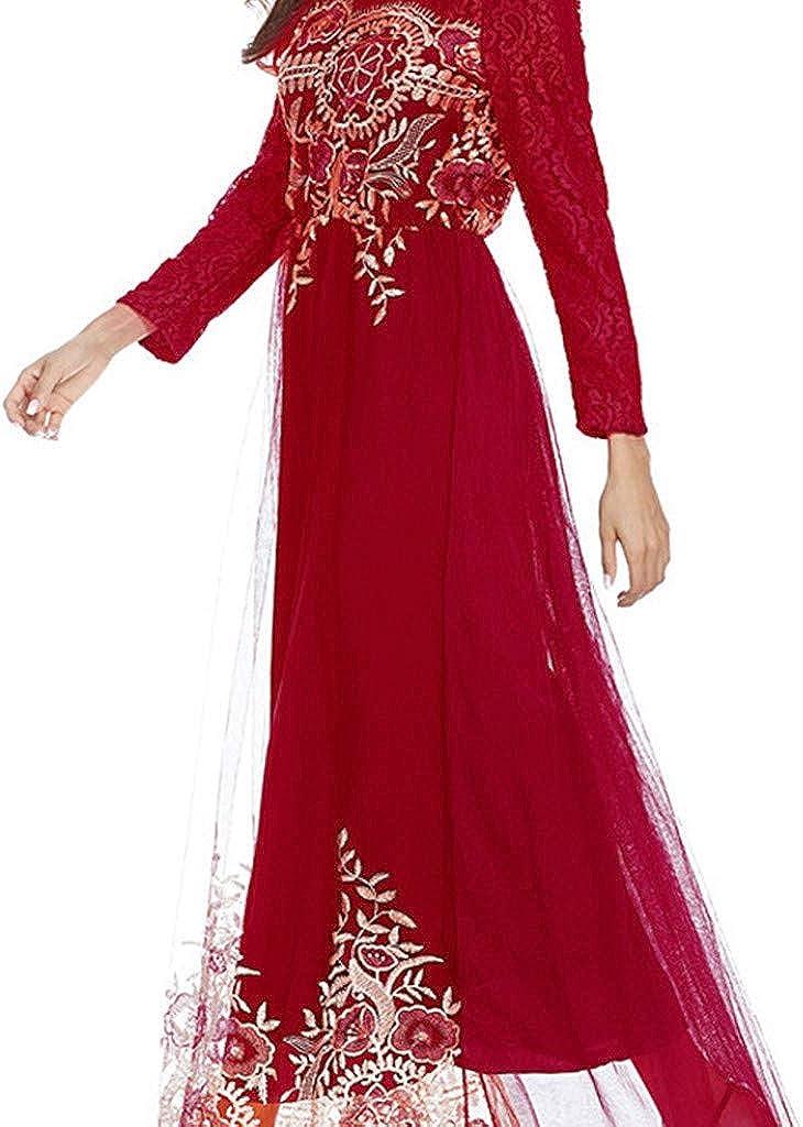 Ropa Muslmana Mujer,Musulm/án Isl/ámica Abaya Maxi Vestidos Bordado Talla Grande Vestidos Encaje Elegante Dubai Turquia de Verano /Árabe Kaftan Vestidos C/óctel de Fiesta