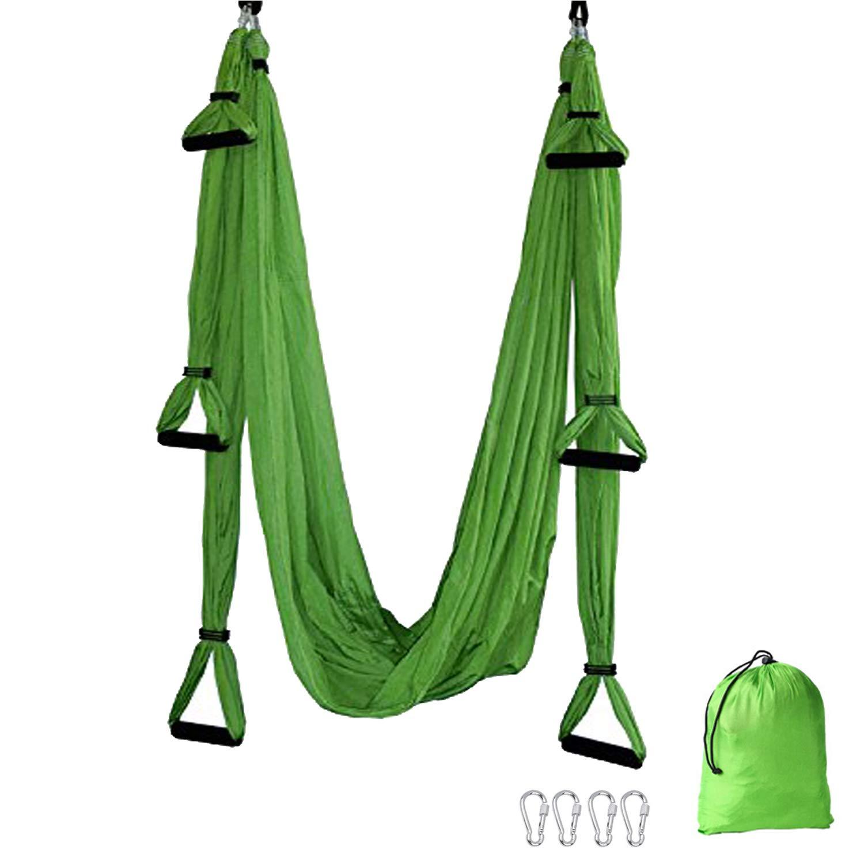 TDRTECH Aerial Yoga Swing, Hanging Yoga Trapeze/Hammock/Sling - Antigravity Inversion Swing for Beginners & Kids (Green)