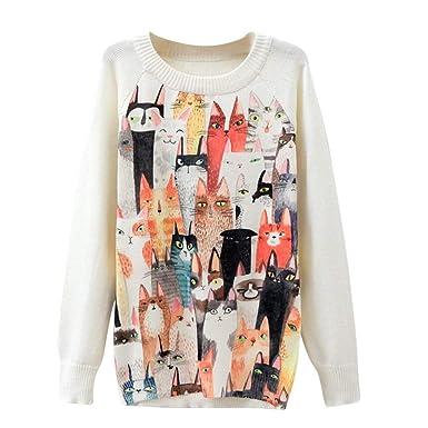 K-youth Sudaderas Mujer sin Capucha Tumblr Adolescentes Chicas Impresas 3D Suéter de Manga Larga con Estampado de Gatos para Mujer Blusas: Amazon.es: Ropa y ...