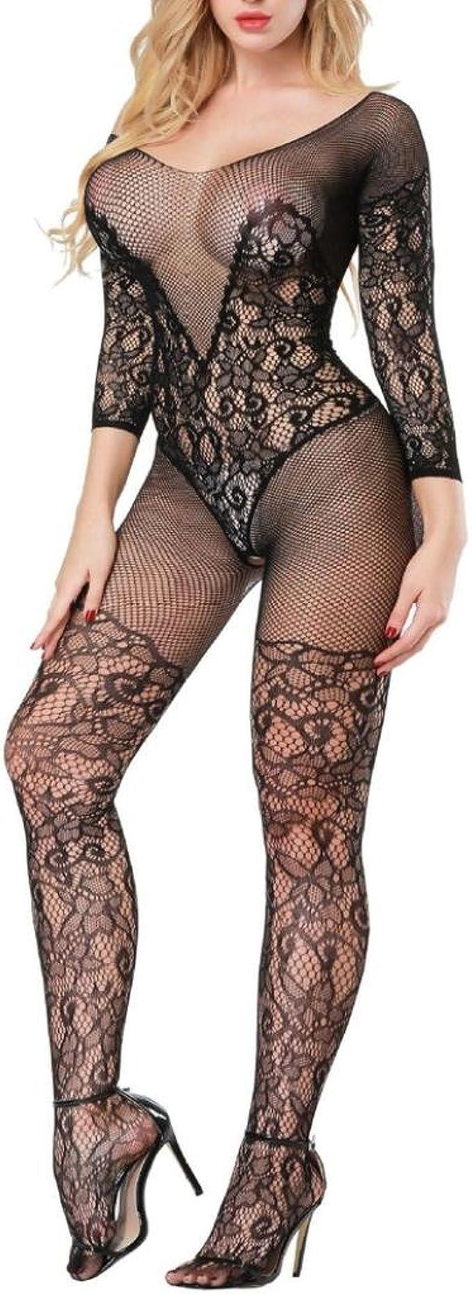 Details about  /Frauen Body Bodysuit Durchsichtig Mesh Unterwäsche mit Reißverschluss Clubwear