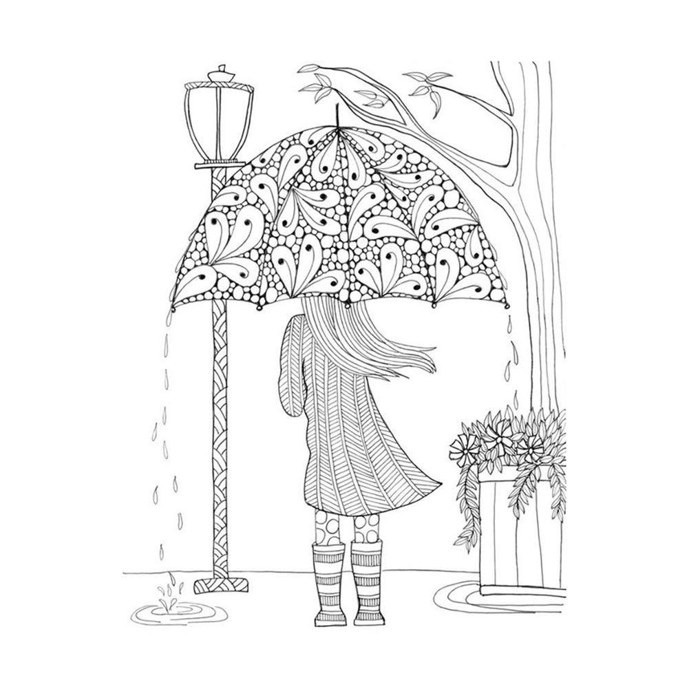 Recoproqfje trasparente chiaro timbro con ragazza ombrello modello DIY Scrabooking album diario decorazione