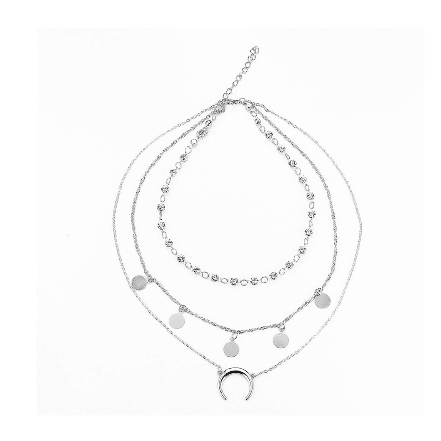 HUAMING Multilayer Chain Pendant Necklace for Women Layered Necklaces Beads Moon Necklace Jewelry Exquisite