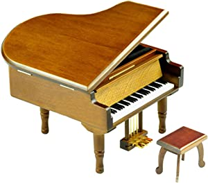 Bankour Wooden Brown Grand Piano Music Box with Sankyo Musical Movement (50 Tunes Option) (Silent Night)