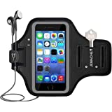 "iPod Touch 5/6/7, iPhone 5/5S/SE Armband, JEMACHE Gym Running Exercises Workouts Sport Arm Band Case for iPhone 5 5S SE (4.0""), iPod Touch 5th 6th 7th Generation with Key Holder (Black)"