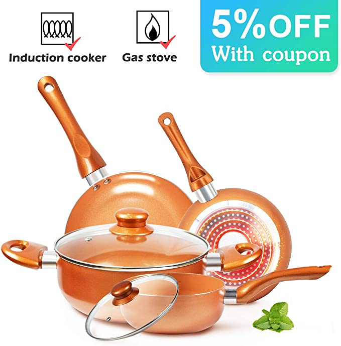 KUTIME 6pcs Cookware Set Pot and Pan Set Non-stick Frying Pans