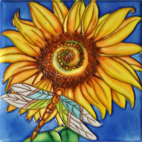 (Sunflower & Dargonfly - Decorative Ceramic Art Tile - 6