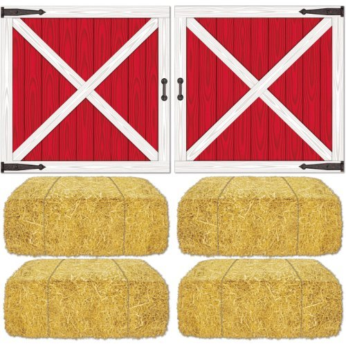 Barn Loft Door & Hay Bale Props Party Accessory (1 count) (6/Pkg) by Beistle -