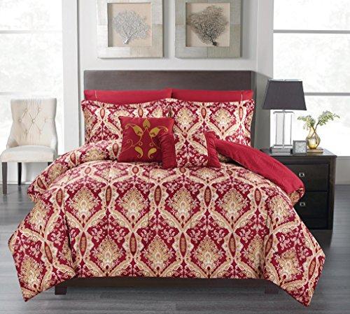 Bed Elite Comforter Set - Luxurious Soft as Egyptian Cotton Reversible 7 Pcs Comforter Set, Queen Size, Russian Burgundy