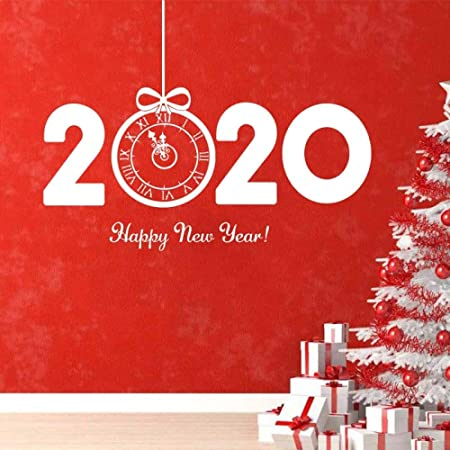 YuanMinglu 2020 Navidad Feliz Año Nuevo Art Sticker White ...
