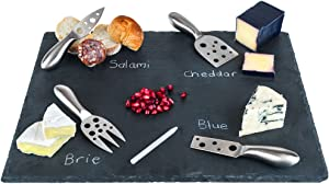 """Large Slate Cheese Board and Stainless Steel Cutlery Set 12"""" x 16"""" - Includes 4 Knives plus a Soap Stone Chalk, Perfect Cheese Platter Slate Board, Wine and Cheese Serving Board Wisconsin Brie Swiss"""