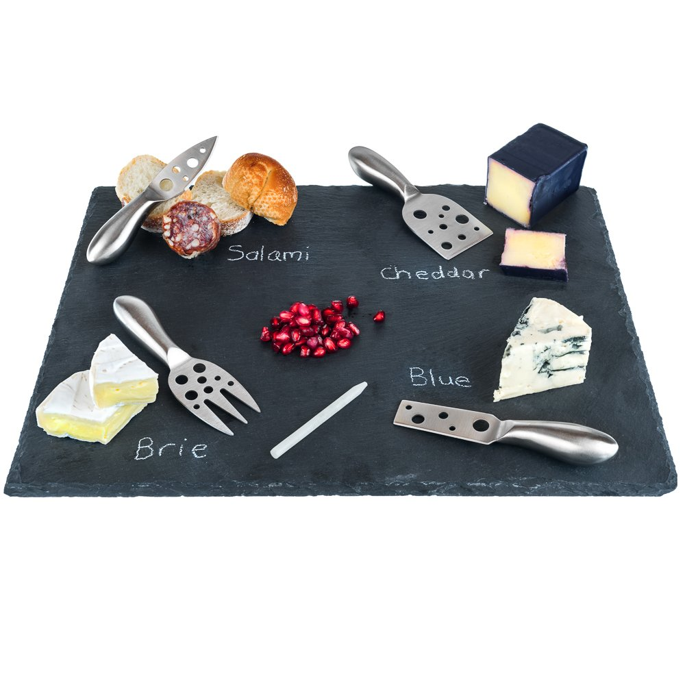 Large Slate Cheese Board and Stainless Steel Cutlery Set 12'' x 16'' - Includes 4 Knives plus a Soap Stone Chalk, Perfect Cheese Platter Slate Board, Wine and Cheese Serving Board Wisconsin Brie Swiss