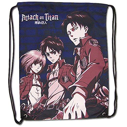 Attack On Titan Eren, Levi, & Armin Drawstring Bag
