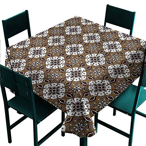 (DONEECKL Oil-Proof and Leak-Proof Tablecloth Chocolate Batik Floral Pattern Party W70 xL70)