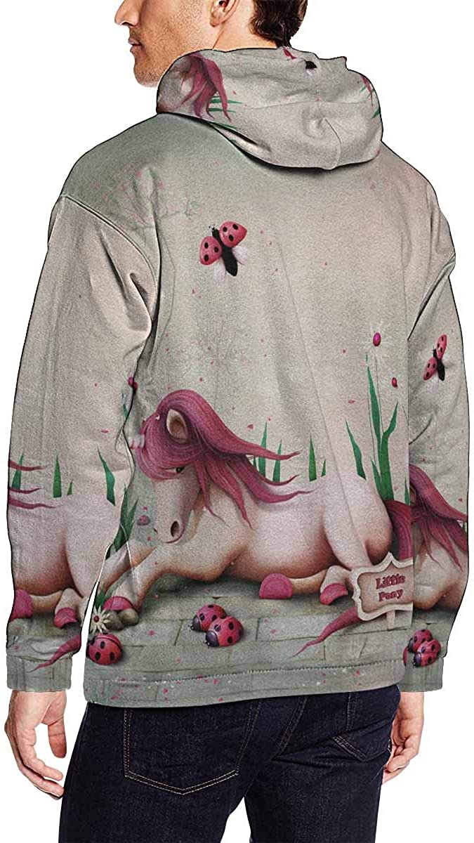 INTERESTPRINT Mens Fairy Tale with Pink Toy Pony Unicorn Hooded Sweatshirts