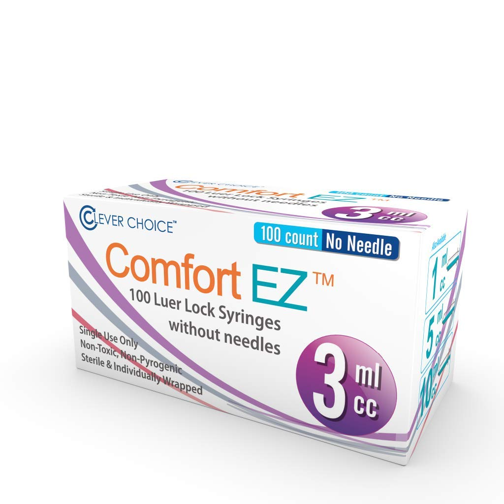 Syringe Only with Luer Lock Tip - 3ml 100 Syringes by Comfort EZ (No Needle)
