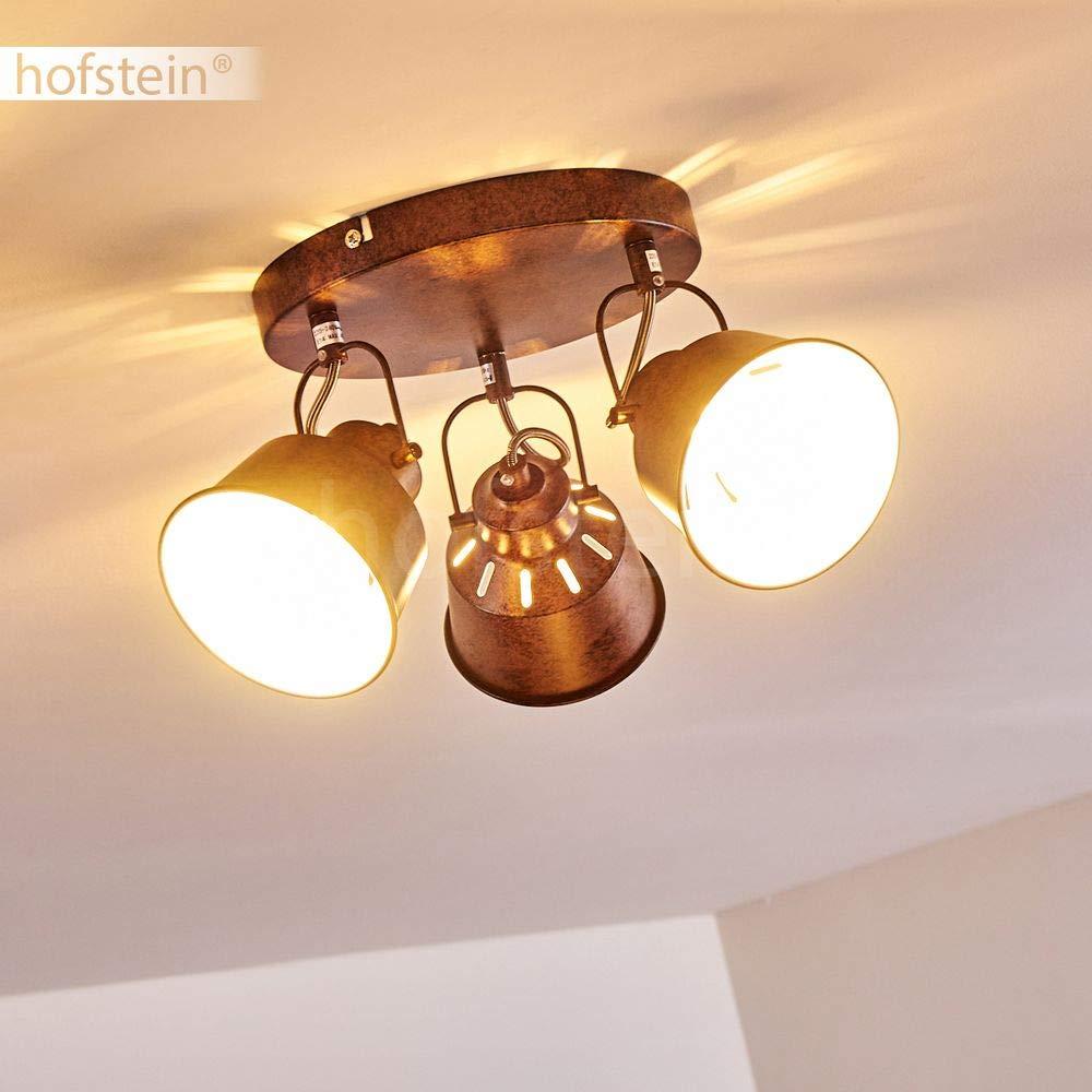 Plafoniera Safari,in acciaio Retro//Vintage adatta a lampadine a LED 4 lampadine E14 max con faretti orientabili ed effetto luce 40 Watt a 4 luci