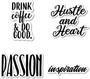 Hustle and Heart Passion Inspirational Drink Coffee Sticker Pack Motivational Stickers - 4 Pack - Laptop Stickers - for Laptop, Phone, Tablet Vinyl Decal Sticker (4 Pack) S211283