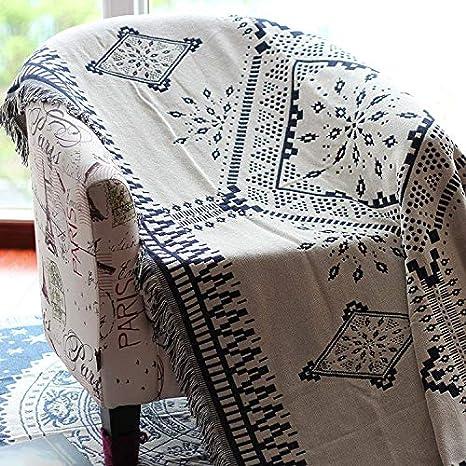 JINSH Home Sofá Funda de cojín sofá Individual Toalla Manta de Doble Cara en Blanco y Negro Manta geométrica Simple Alfombra Manta Mantel (Size : 90 * 240cm)