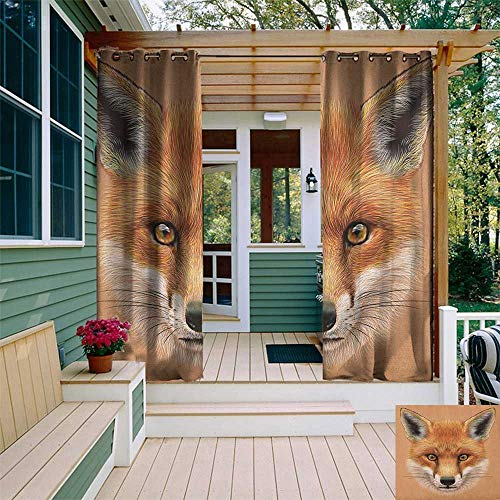 - leinuoyi Fox, Outdoor Patio Curtains, Cute Fluffy Face of Forest Fox Young Baby Mammal Predator Canine Vixen, Set for Patio Waterproof W84 x L108 Inch Pale Brown Orange White