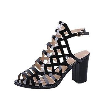 2a089774654879 Sandalen Damen Kolylong® Frauen Vintage Gladiator Sandalen mit Absatz  Elegant Kunstleder Sandalette High Heels Sommer