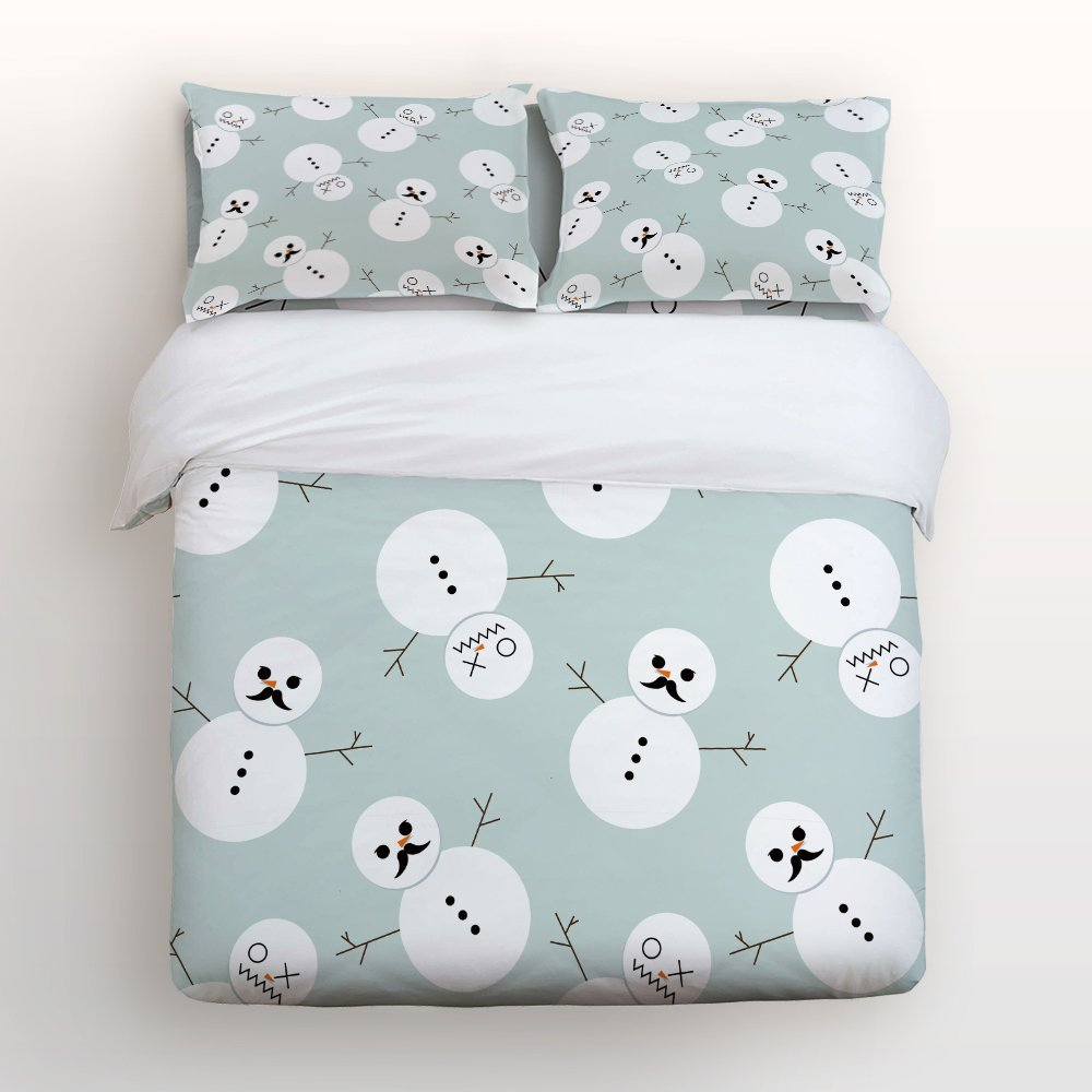 Libaoge 4 Piece Bed Sheets Set, Cute Winter Snowman with Beard Pattern Design, 1 Flat Sheet 1 Duvet Cover and 2 Pillow Cases