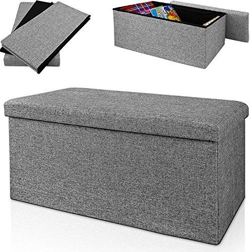 Sitzbank grau 80x40x40cm- Sitzhocker Ottomane Aufbewahrungsbox Bank Hocker Sitzwürfel