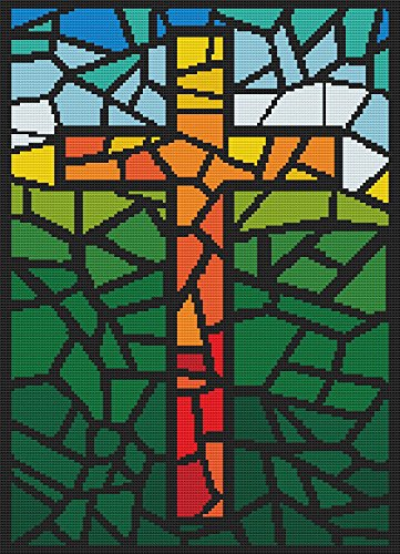 Stained Glass Cross - Cross Stitch Pattern (Not a Kit) Stitching Tips/Fabric Planning Guide included. - Stained Glass Fabric