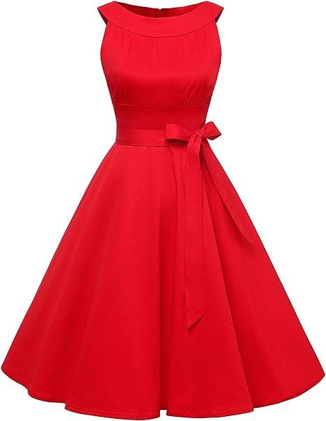 TALLA XS. Timormode Vestido Vintage Fiesta Color Sólido Sencillo Y Elegante Rockabilly Mujer Burgundy XS
