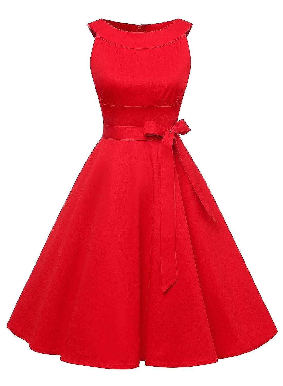 Timormode Sommerkleider 50er Retro Damen Rockabilly Kurz Vintage Kleid Ärmellos Swing Kleid Ballkleid