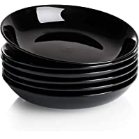 Wide and Shallow Porcelain Salad and Pasta Bowls Set of 6-22 Ounce Microwave and Dishwasher Safe Serving Dishes Black