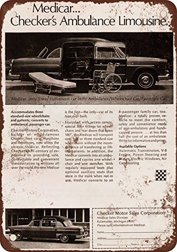 1971 Checker Ambulance Limousine Vintage Look Reproduction Metal Tin Sign 12X18 (Ncaa Checkers)