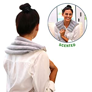 Heating Pad Solutions - Lavender Heating Pad for Neck and Shoulders   Reusable Natural Hot Pack for Pain Relief with Lavender Aroma for Stress Relief   Used for Aching Shoulders and Upper Back Pain