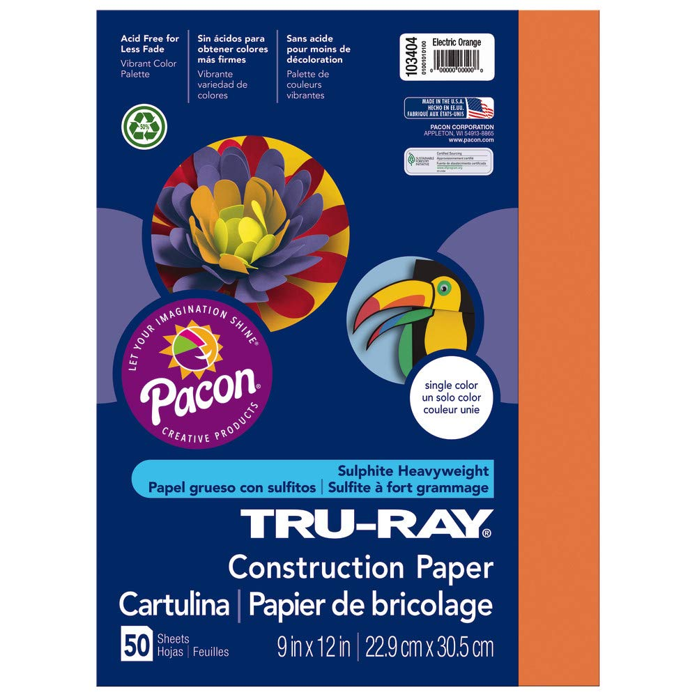 Pacon Tru-Ray Construction Paper, 9-Inches by 12-Inches, 50-Count, Orange (103002)