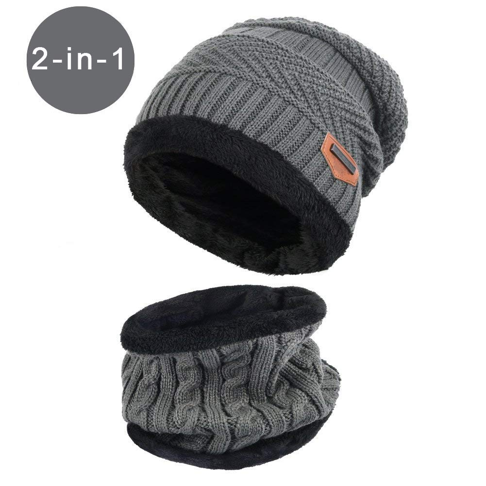 Unisex Winter Outdoor Windproof Thermal『 Hat Scarf Set 』Thick Ski Cap Beanie Winter Neck Warmer Fleece Lined Infinity Scarf Thicken Windproof Dust Skiing Scarf Circle Scarf BSOFFICE