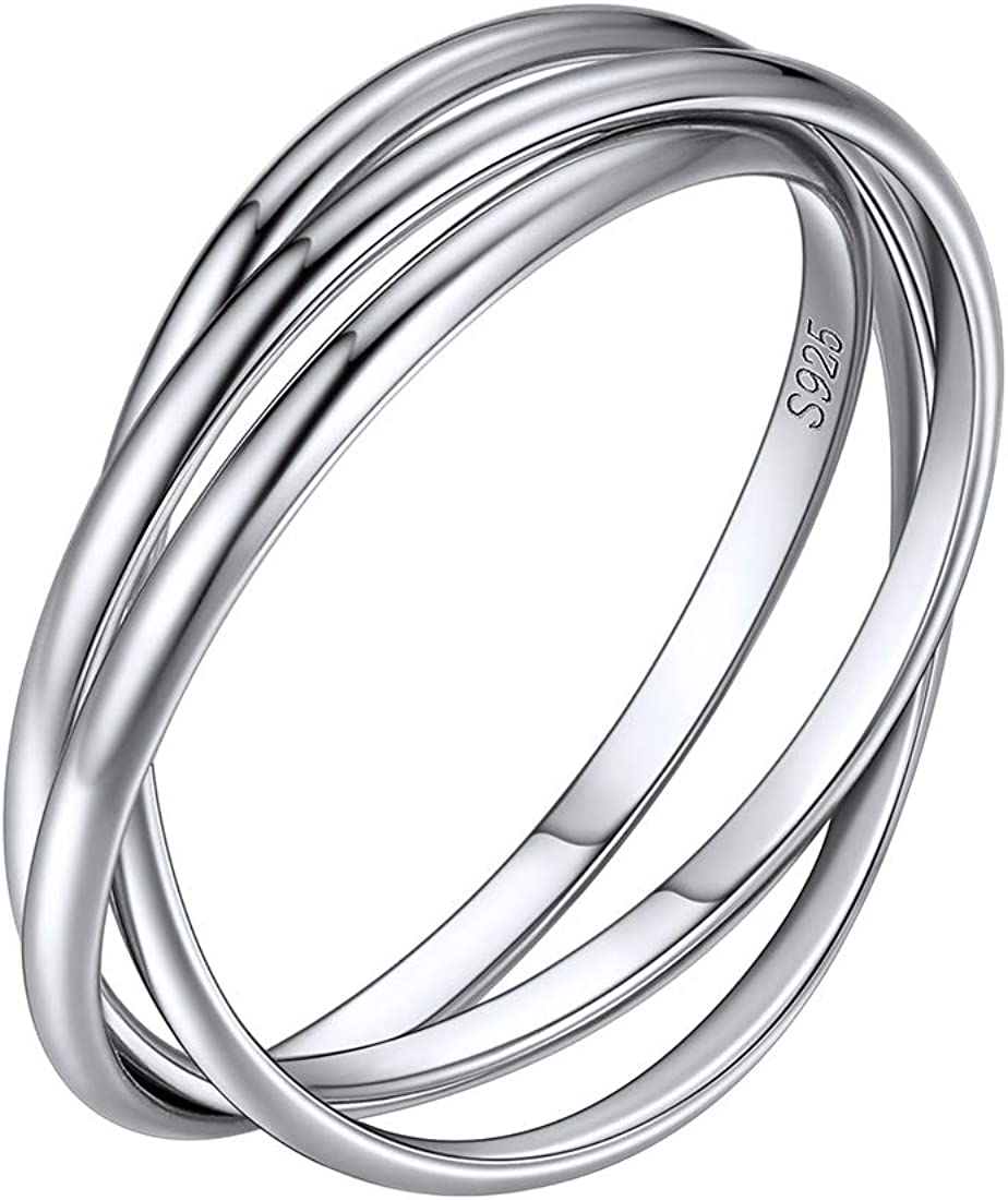 ChicSilver 925 Sterling Silver Triple Interlocked Rolling Ring High Polish Plain Dome Wedding Band Comfort Fit for Men Women, Size 4-12 (with Gift Box)